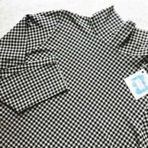 J Jill Luxe Pima Cotton Black & White Check Turtleneck
